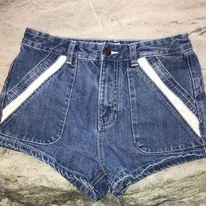 Free people lace trim pocket jean shorts